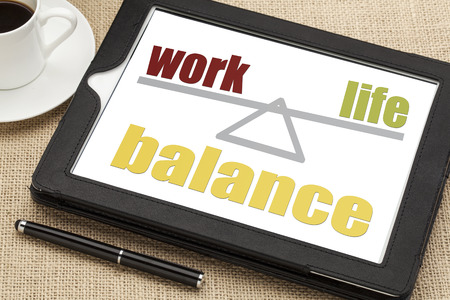 work life balance concept on a digital tablet with a cup of coffee Zdjęcie Seryjne