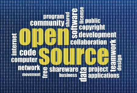 shareware: software development concept - open source word cloud on a binary computer screen background
