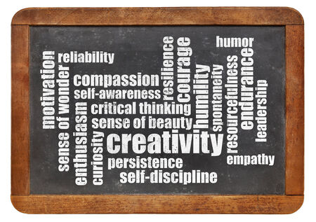 humility: creativity, self-discipline and other personal qualities - a word cloud on a vintage blackboard