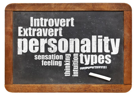 personalities: personality types word cloud on a vintage blackboard