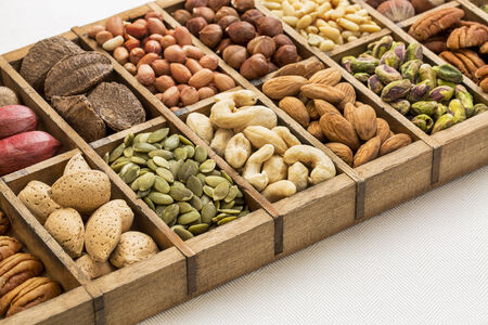 typesetter: nuts and seed collection (cashew, pecan, pistachio, Brazilian, hazelnut,pine nuts, peanut, pumpkin) in an old typesetter wooden drawer
