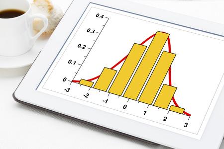 digital distribution: graph of data histogram  Gaussian distribution on a digital tablet Stock Photo