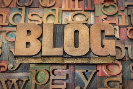 blog: blog word in wood type against background of letterpress printing blocks