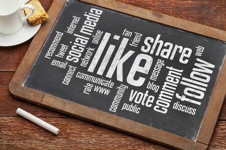ソーシャル メディア コンセプト - 共有、コーヒーのカップとビンテージ黒板に従って単語の雲のような