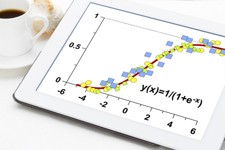 curve: limited growth model on a digital tablet with a cup of coffee - data following the logistic function with applications in statistics, ecology, medicine, demography and other sciences