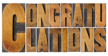 acknowledgment: congratulations - isolated word abstract in vintage letterpress wood type Stock Photo