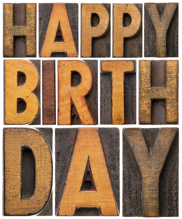 prinitng block: happy birthday - isolated word abstract in vintage letterpress wood type