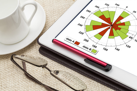 gaussian distribution: polar bars business graph on a digital tablet with a cup of coffee Stock Photo
