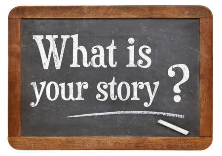 What is your story question  on a vintage blackboard isolated on white Banco de Imagens