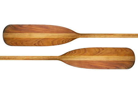 canoe paddle: canoe paddle abstract - two blades of  old wooden paddles isolated on white