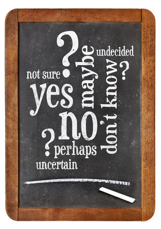 maybe: undecided concept - yes, no, maybe  word cloud on a vintage blackboard