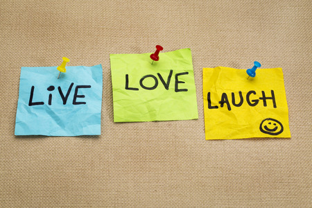 live, love, laugh - motivational words on sticky note reminders Stock fotó - 28288112