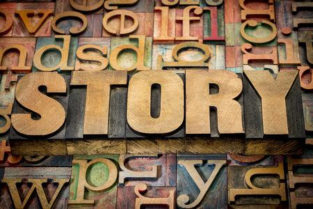 wood type: story word in wood type