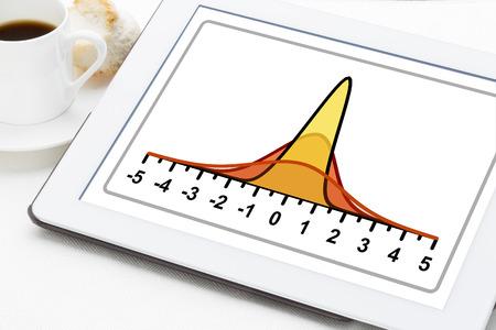 statistics or analysis concept - three Gaussian (normal distribution) curves on a digital tablet with a cup of coffee photo