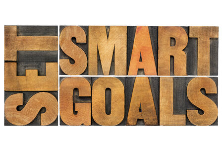 set smart goals  - isolated word abstract in vintage letterpress wood type photo