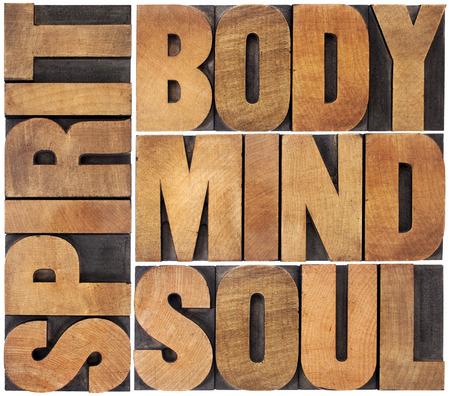 mind body soul: corpo, mente, anima e parola spirito astratto - un collage di testo isolato in blocchi di legno d'epoca di stampa tipografica Archivio Fotografico