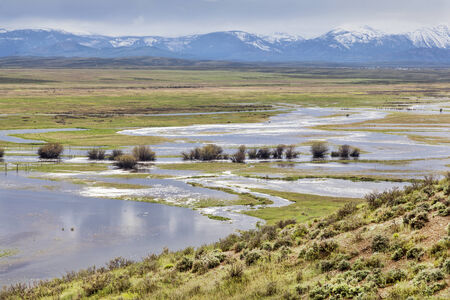 illinois river: Illinois River meanders through Arapaho National Wildlife Refuge, North Park near Walden, Colorado