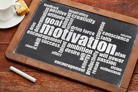 motivation word cloud on vintage slate blackboard with chalk