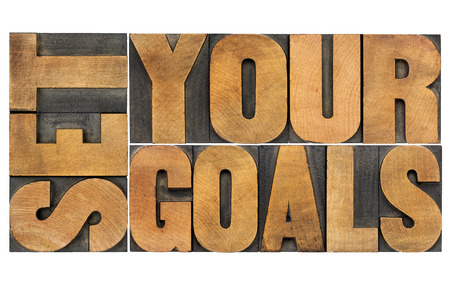 set goals: set your goals  - isolated word abstract in vintage letterpress wood type Stock Photo