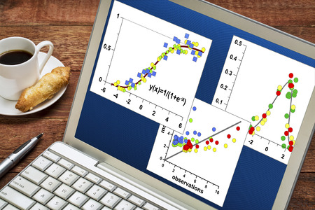normal distribution: reviewing and analyzing  scientific data graphs on laptop with a cup of coffee