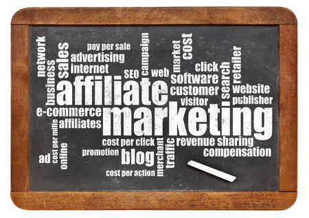 website words: affilliate marketing word cloud on a vintage slate blackboard isolated on white Stock Photo