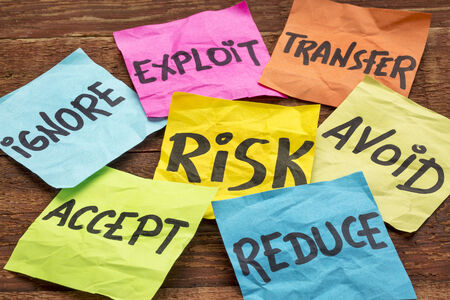 avoid: risk management strategies - ignore, accept, avoid, reduce, transfer and exploit on colorful sticky notes