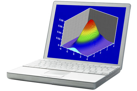 scientific graph (bivariete Gaussian distribution mesh plot) on an isolated laptop Imagens
