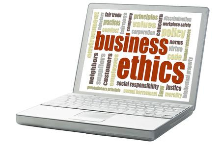 etica empresarial: concepto de �tica empresarial - una nube de palabras relacionado en una computadora port�til aislados Foto de archivo
