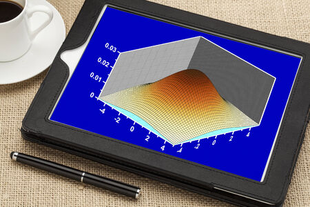 scientific graph (bivariete Gaussian distribution mesh plot) on a digital tablet with cup of coffee