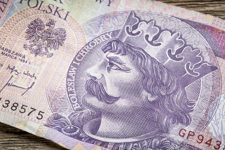 Boleslaw I Chrobry, the Valiant or the Brave, the first King of Poland (11th century) - a detail of 20 zloty (PLN) used banknote from Poland