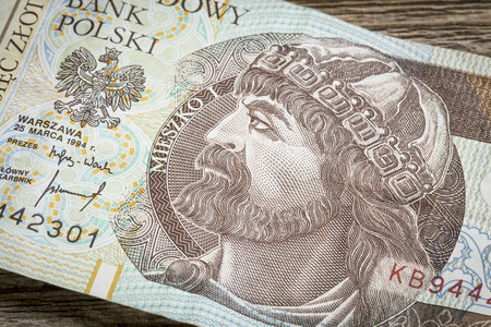 11th century: Mieszko I, the first christian ruler of Poland (10yh and 11th century) - a detail of 10 zloty (PLN) used banknote from Poland