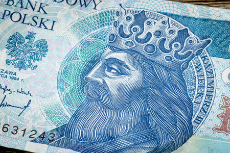 casimir: portrait of King Kazimierz (Casimir) III The Great (14th century), one of the greatest Polish monarchs, a detail of 50 zloty (PLN) used banknote from Poland