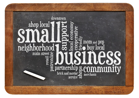 small business word cloud on a vintage slate blackboard photo
