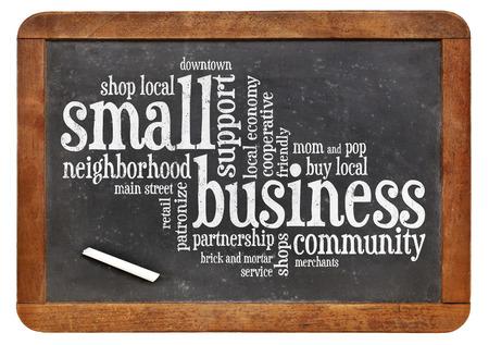 small business word cloud on a vintage slate blackboard Stock fotó