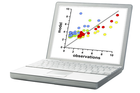 correlation: scatter graph of model and observation data on a laptop - science research or business statistics concept