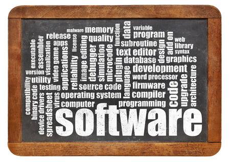 word processor: software word cloud on a vintage slate blackboard Stock Photo