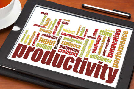 productivity word cloud on a digital tablet with cup of tea