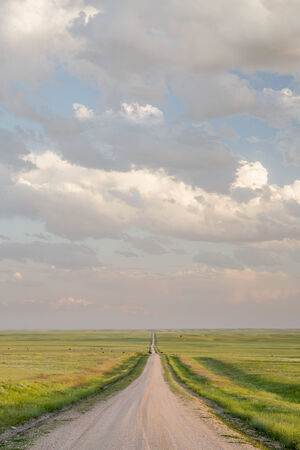 pawnee grassland: rural road in  eastern Colorado prairie in springtime, Pawnee National Grassland