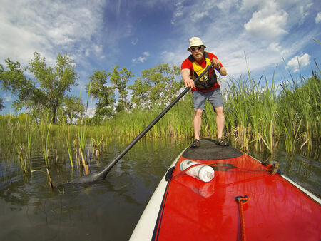 paddler: senior male paddler enjoying workout on stand up paddleboard (SUP), calm lake in Colorado, spring colors