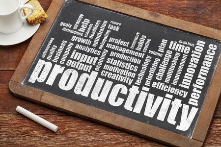 productividad: palabra productividad nube sobre pizarra, pizarra de la vendimia con tiza y café Foto de archivo