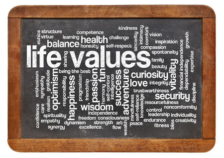 possible life values - word cloud on a  vintage blackboard isolated on white Imagens