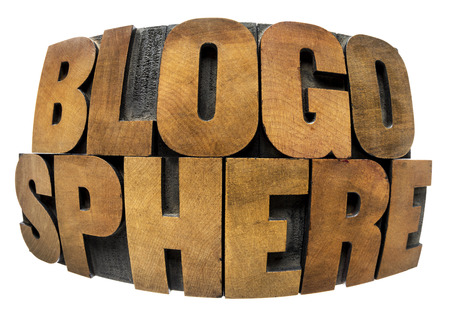 blogosphere: internet concept - blogosphere word in fisheye lens perspective - isolated in text in vintage letterpress wood type