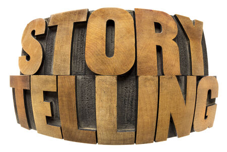 storytelling word in fisheye lens perspective - isolated text in letterpress wood type