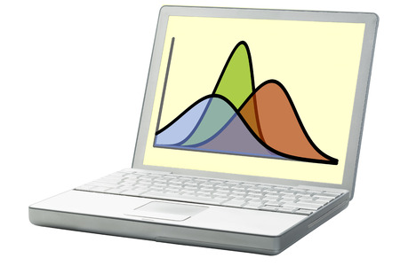 normal distribution: statistics or analysis concept - three Gaussian (normal distribution) curves on a laptop computer