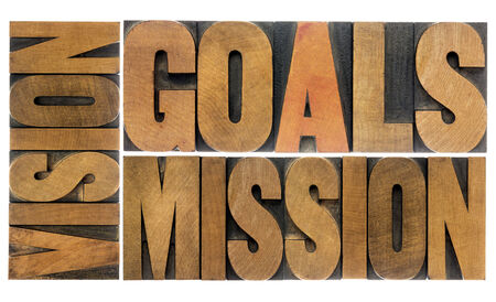 goals, vision and mission word abstract -  a collage of isolated text  in letterpress wood type photo