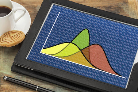gaussian distribution: statistics or analysis concept - three Gaussian (normal distribution) curves with binary background on a digital tablet Stock Photo