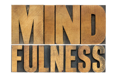 mindfulness: mindfulness word abstract  - awareness concept - isolated text in letterpress wood type