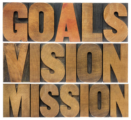 goals, vision and mission - a collage of isolated words in letterpress wood type Banco de Imagens - 30085677