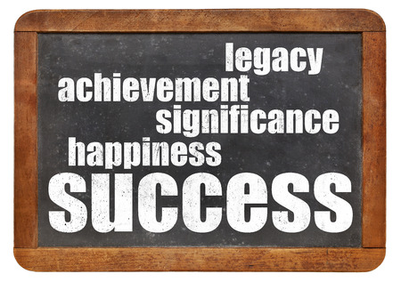 legacy: success components - happiness, significance, achievement, legacy on a  vintage blackboard Stock Photo