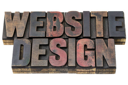 website design: website design - isolated word in vintage letterpress wood type with ink patina